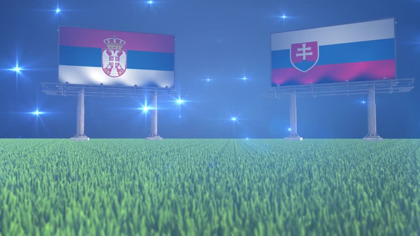 3d animated soccer ball bouncing in front of billboards with the flags of Serbia and Slovakia with flickering lights in the background in 4K resolution
