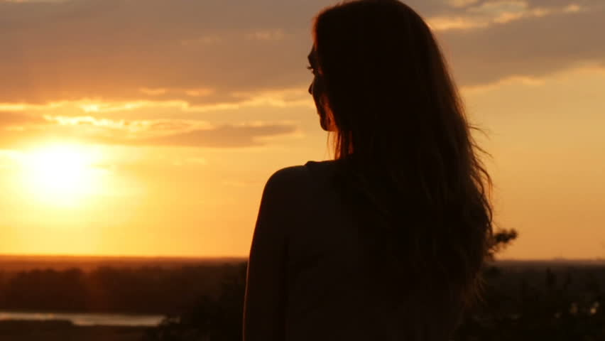 Silhouette Of Young Woman In Stock Footage Video 100