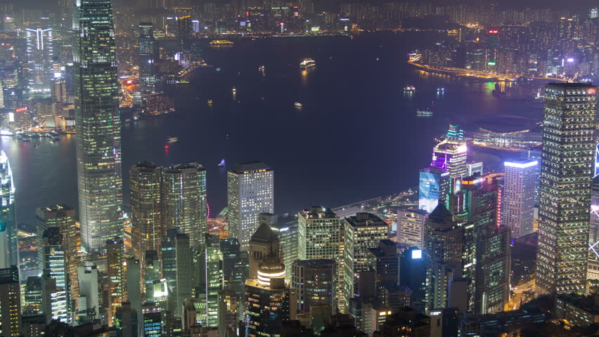 Time Lapse of Busy Hong Kong Harbor at Night | Shutterstock HD Video #1014123788