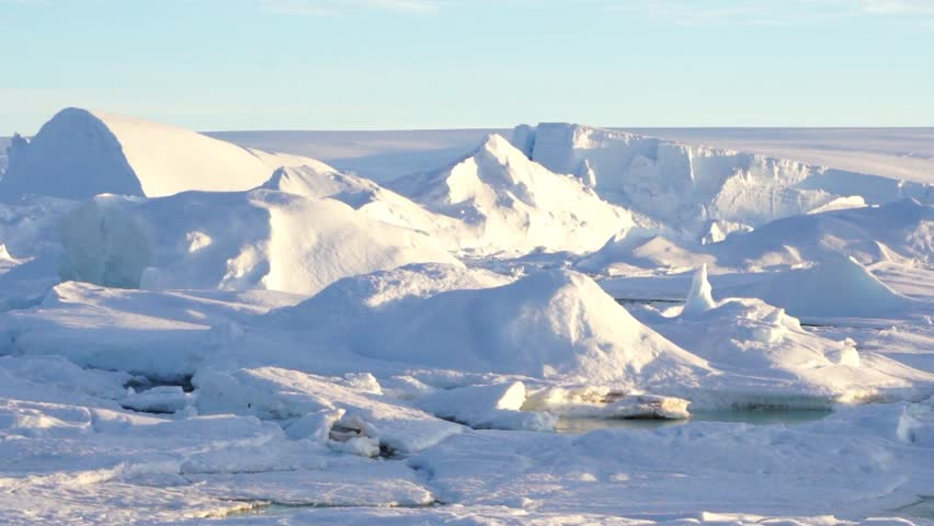 Panorama sunlight on Larsemann Hills, antarctic oasis on the shore of Prydz Bay.