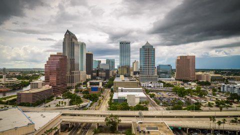 Tampa, Florida, USA aerial downtown skyline with storm clouds.