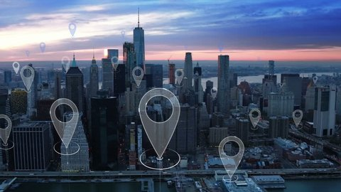 Aerial smart city. Localization icons in a connected futuristic city.  Technology concept, data communication, artificial intelligence, internet of things. New York City skyline.