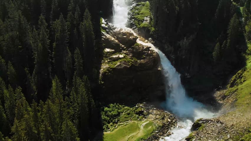 Aerial view of Krimml waterfalls - highest waterfall in Austria