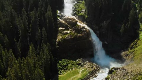 Aerial view of Krimml waterfalls - highest waterfall in Austria