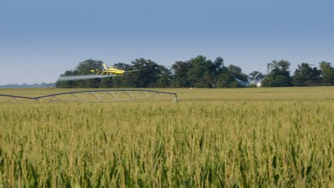 Crop Duster Super slow motion flying over corn field spraying crops