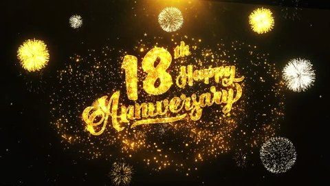 18th Happy Anniversary Text Greeting and Wishes card Made from Glitter Particles From Golden Firework display