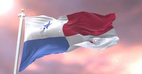 Flag of Panama waving at wind at sunset in slow, loop