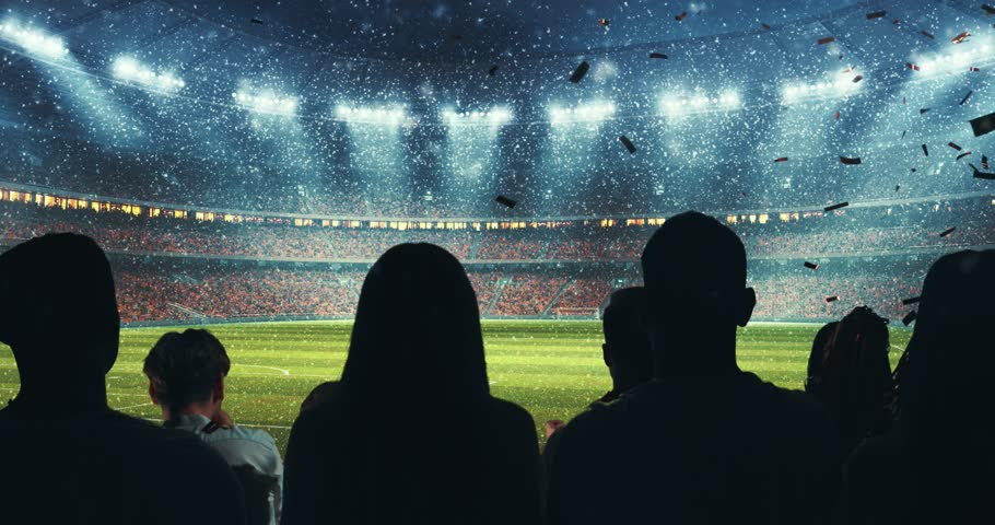 Fans celebrating the success of their favorite sports team, a man screaming in a megaphone on the stands of the professional stadium while it's snowing. Stadium is made in 3D and animated. #1014312488