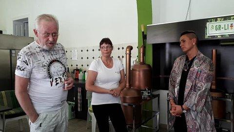 goerlitz saxomy germany july 2018: luise neuhaus wartenberg visit brewery krause