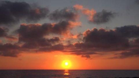 Sunset Beach, Sunrise on Seashore, Ocean at Sundown in Summer, Twilight Seascape