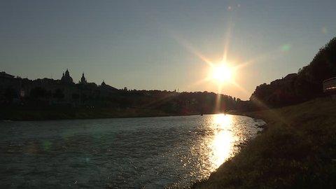 Sunset in salzburg, view from the karolingen bridge in west direction