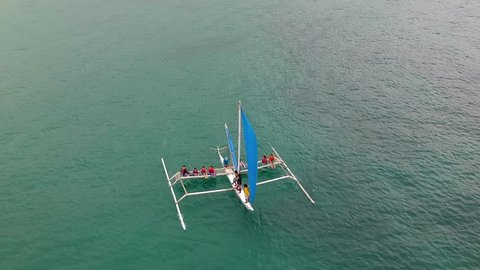 Beautiful bird's eye aerial view of banca boat in Boracay Philippines