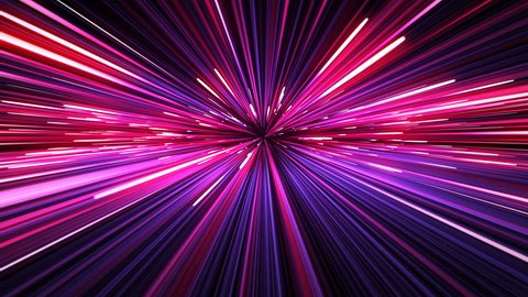 Beautiful Space Travel Through Stars Trails. Abstract Hyperspace Jump Pink-Blue Color. Digital Design Concept. Looped 3d Animation of Glowing Lines 4k UHD 3840x2160.