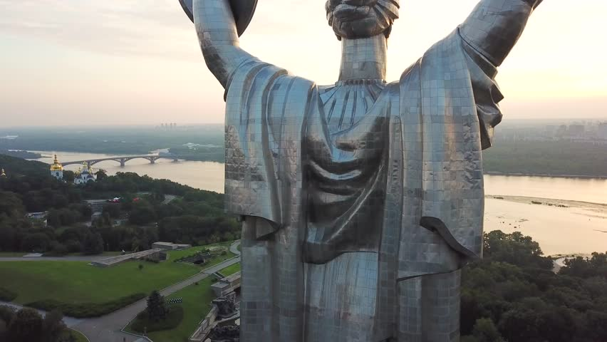 Aerial view of the Motherland Monument also known as Rodina Mat', devoted to the Wold War II. Kiev, Ukraine