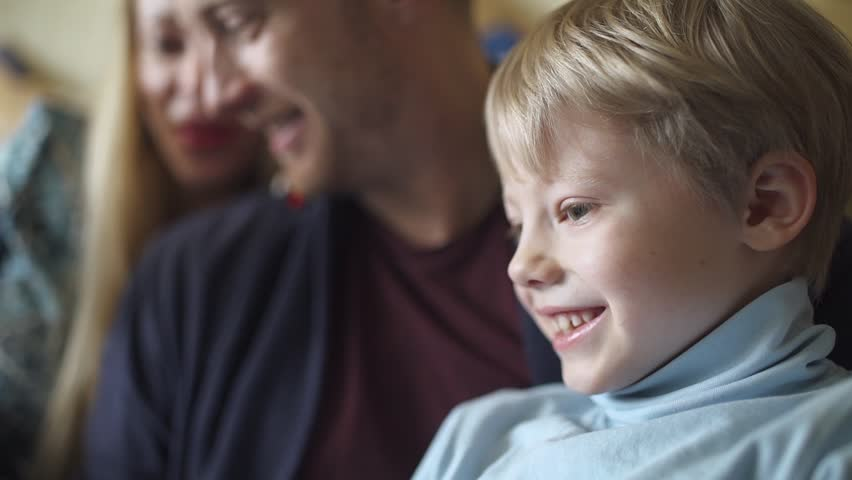 Happy family, father mom and son use screen tablet.   | Shutterstock HD Video #1014428138
