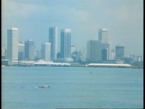 SINGAPORE, 1982, The skyline of Singapore from the harbor