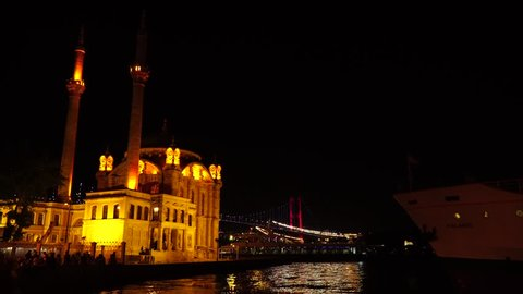 Istanbul, Turkey, June 2018; Ortakoy Mosque in Besiktas, Istanbul, Turkey, is situated at the waterside of the Ortakoy pier square, one of the most popular locations on the Bosphorus.