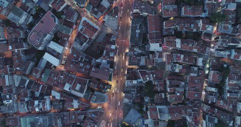 A stunning 4k birdseye view at night of Kadikoy. Istanbul. Turkey. Kadikoy has many houses from the Ottoman and some from Roman period which are hidden in its side streets.