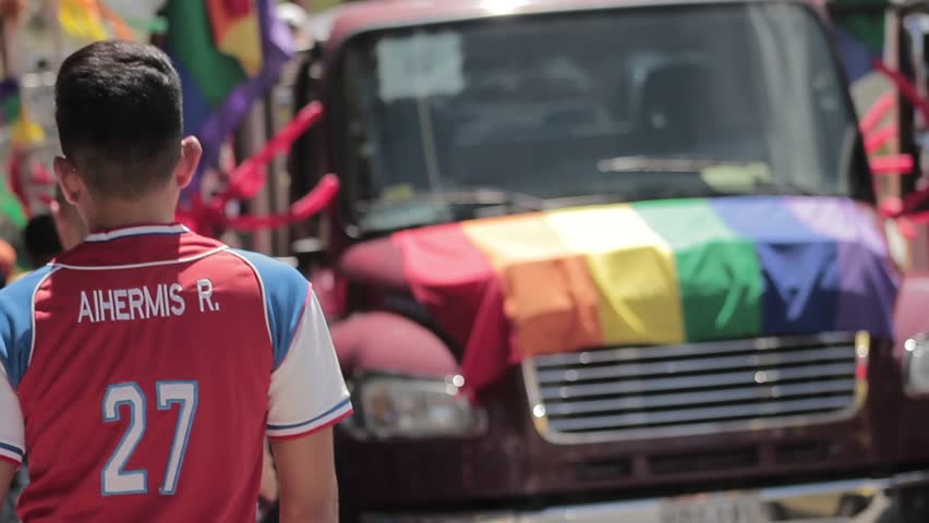 Medellin, Colombia - July 11, 2018: People supporting gay pride on a truck