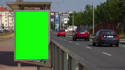 PRAGUE, CZECH REPUBLIC - MAY 26, 2018: Green screen on the side of a tram stop in an urban area