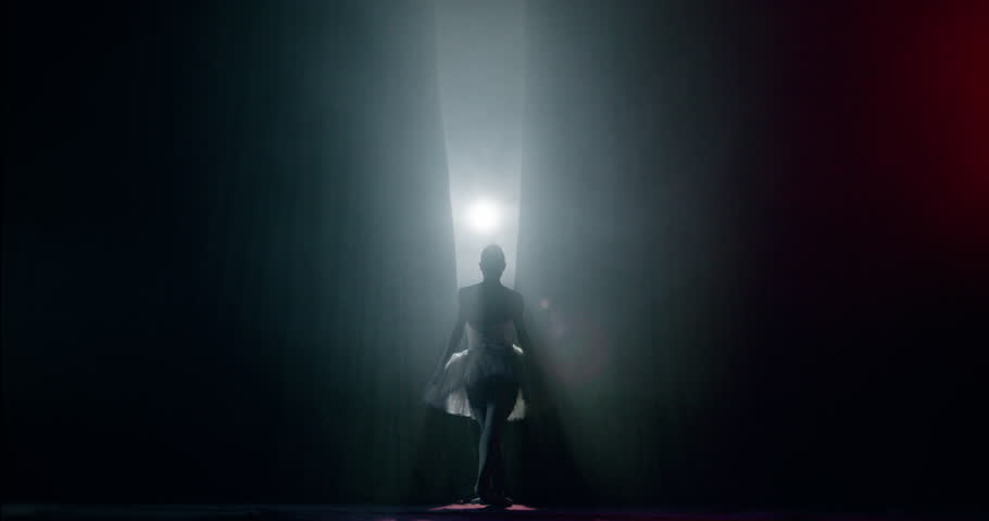 Curtain Opens as Ballerina Entering Stage For Performance Spectacle Female Power Fragility Smoke Silhouette Slow Motion Red Epic #1014565928