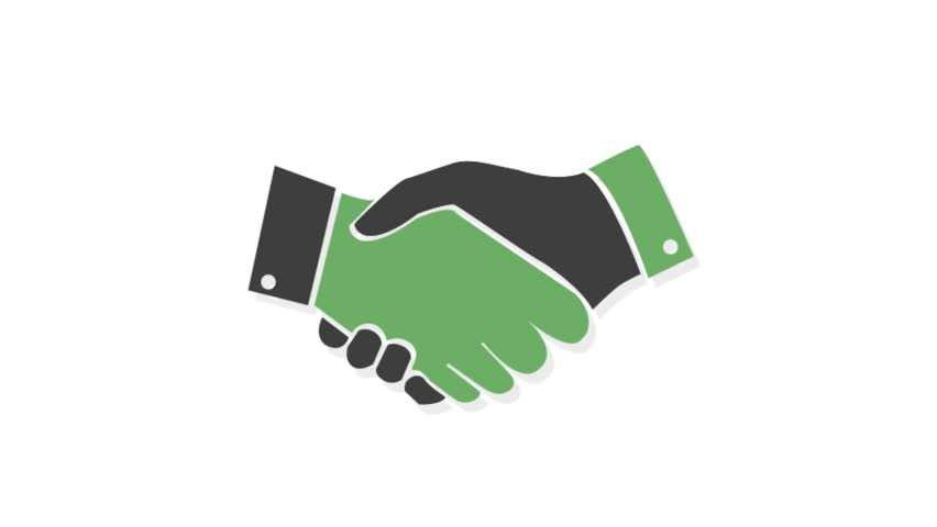 Finance icons animation with white  background.Handshake icon animation with white background.