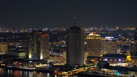 NEW ORLEANS, LOUISIANA, USA - AUGUST 1, 2018: Downtown New Orleans hotels and casinos drone aerial video