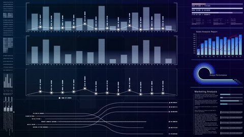 Business info graphic with animated graphs charts and numbers insight analysis to be shown on monitor display screen for business meeting mock up theme
