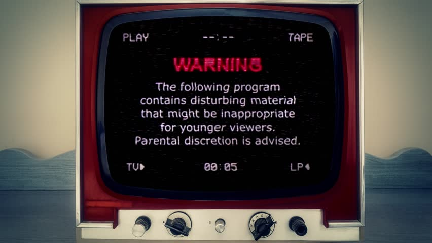 A retro vintage TV showing: a VHS tape, recreated from scratch, with noise and distortion, showing a warning message (the video program contains disturbing material, parental discretion is advised).