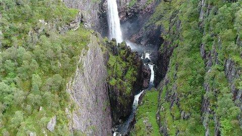 Aerial footage of the beautiful waterfall Månafossen in Rogaland, Norway outside Stavanger pedestal shot.
