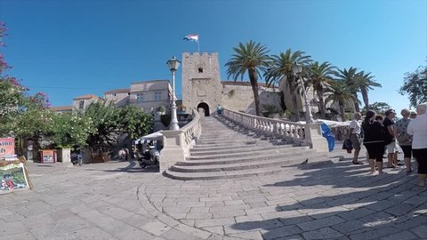 Steps leading up to Town Gate in Korcula Old Town, Korcula, Dalmatia, Croatia, Europe