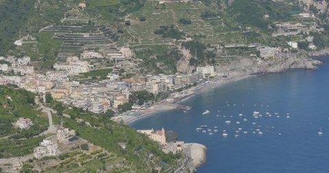 View of Amalfi Coast from Villa Rufolo, Ravello, Costiera Amalfitana (Amalfi Coast), UNESCO World Heritage Site, Campania, Italy, Europe