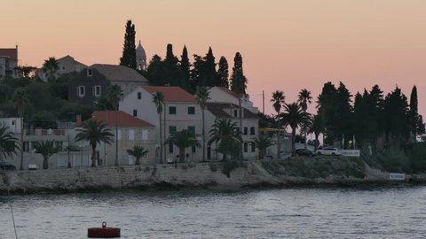 View of Luka Korculanska Bay from Korcula Old Town at dusk, Korcula, Dalmatia, Croatia, Europe