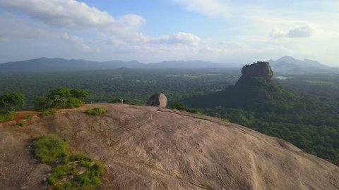 View of the Pidurangala rock near Sigiriya in Sri Lanka drone footage