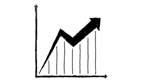 Hand drawn chart sign animation. Chart with arrow sign. Black and whit with alpha channel.