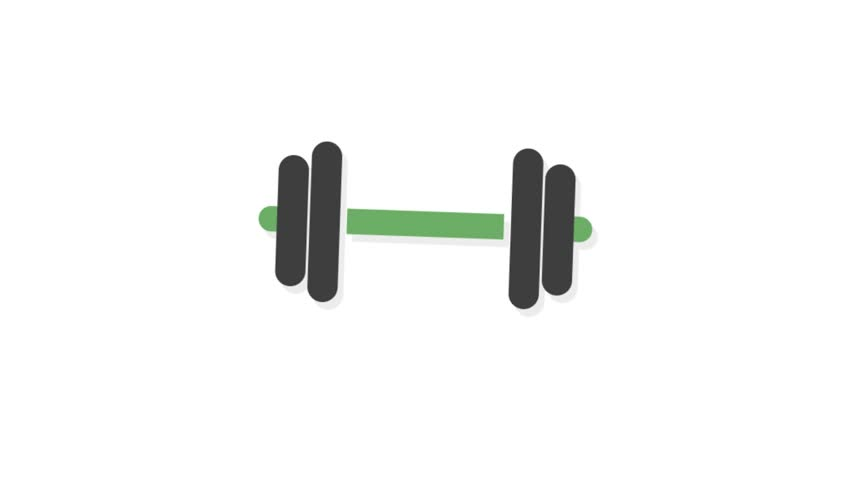 Sports icons animation with white  background.Dumbbell icon animation with white background.