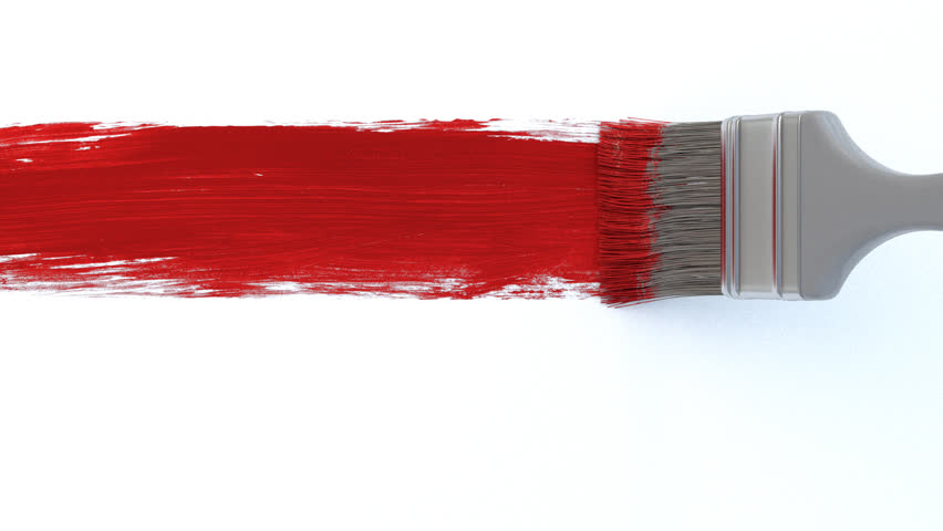 Red Paint paintbrush and red paint stroke over white background. alpha