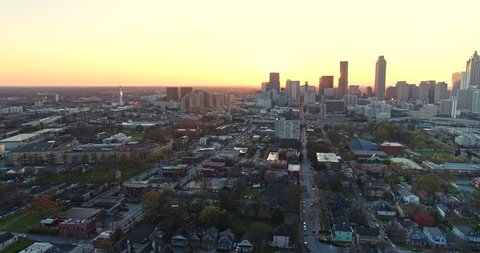 Atlanta Aerial v428 Flying backwards high to low over Sweet Auburn cityscape with downtown view 3/18