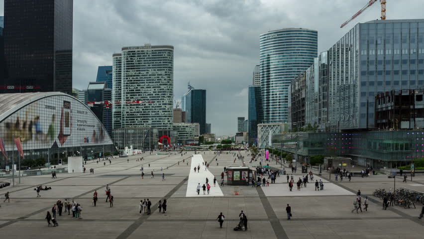La Defense, PARIS 2018. Time lapse of crowd of people walking across the square close to modern buildings in business district. | Shutterstock HD Video #1014715538
