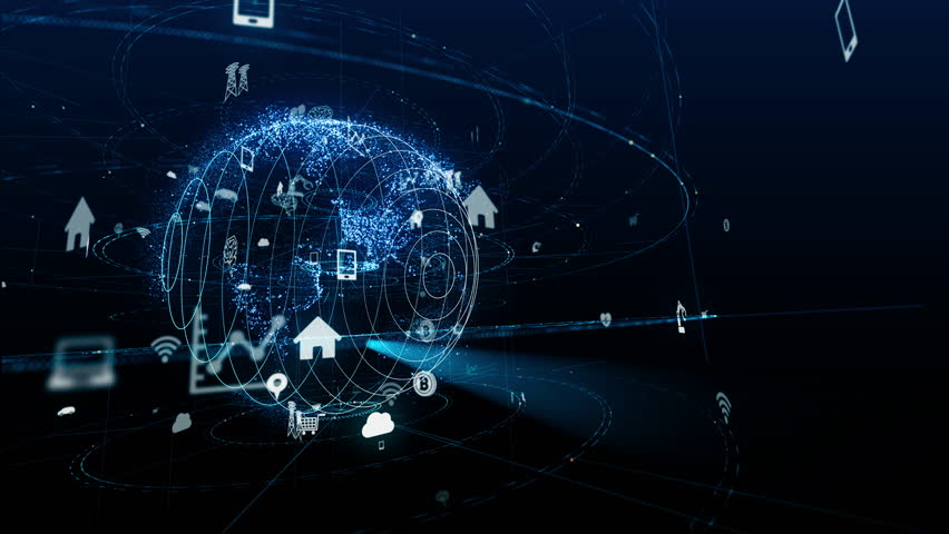Internet of Things concept. Various icons floating in cyberspace. | Shutterstock HD Video #1014730538