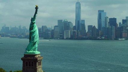 Aerial drone orbit Statue of Liberty New York