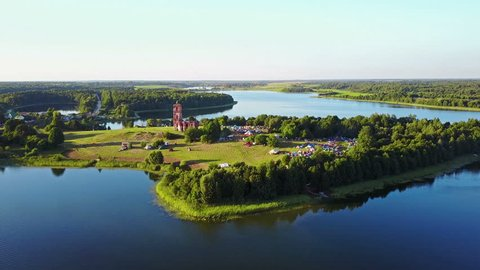 BELARUS, BELAYA CERKOV - August 04, 2018: International open air festival SPRAVA in Belarus - interaction with the historical and natural landscape of Belarus through modern art and music. Aerial view