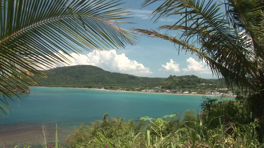 A Caribbean white sand beach on the northern coast of Jamaica, near Dunn's River Falls and the town of Ocho Rios