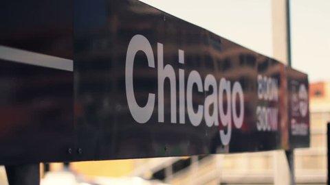 Chicago L Train Sign Rack Focus