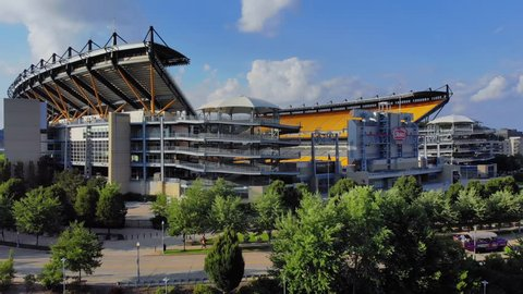 PITTSBURGH, PA - Circa August, 2018 - A reverse rising aerial establishing shot of Heinz Field, home to the Pittsburgh Steelers.