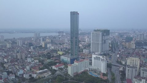 Hanoi,Vietnam - May 09,2018: Aerial Backwards from Lotte Tower