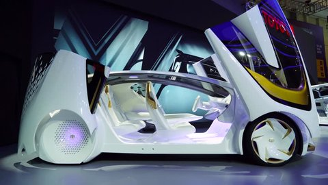 Tangerang, Indonesia - August 08, 2018: Side view of Toyota i-Concept future car showed at the event of Gaikindo Indonesia International Auto Show. Shot in 4k resolution
