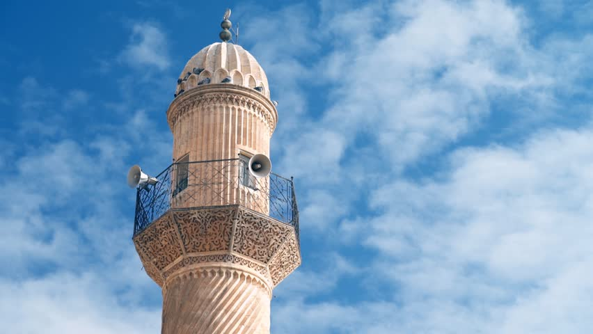 Stone Minaret of Mosque in Mardin in Turkey