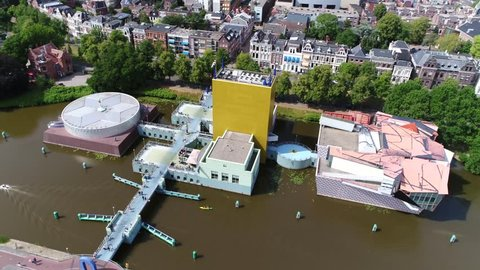 Aerial view of Groninger Museum is an art gallery in city of Groningen in Netherlands the site exhibits modern and contemporary art of local national and international artists 4k quality