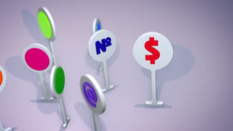 An optimistic 3d rendering of such multicolored computer symbols as question and exclamation marks, at and dollar signs, number and grate icons standing and rotating cheerfully. They look funny.